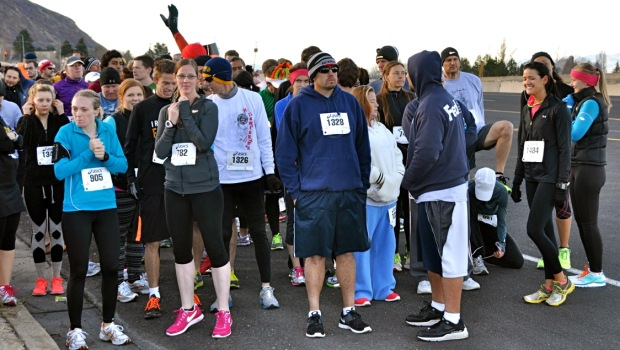 I'm on the far left, guess my eyes are closed to visualize the race! Photo Credit: Bob Negley