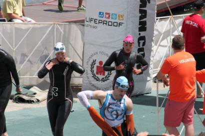 First Relay Swimmer out of the water!