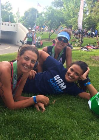 Post race, chillin' with these awesome ladies. (They actually raced the whole 70.3).